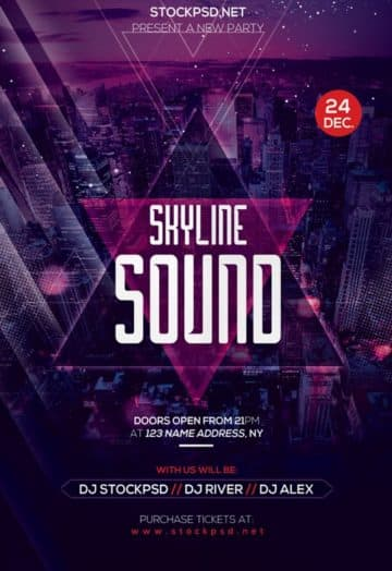 Skyline Sound Free Party Flyer Template