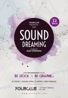 Electro Sound Dreaming Free Flyer Template