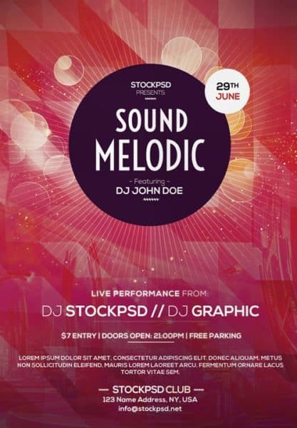 Melodic EDM Sound Free Flyer Template
