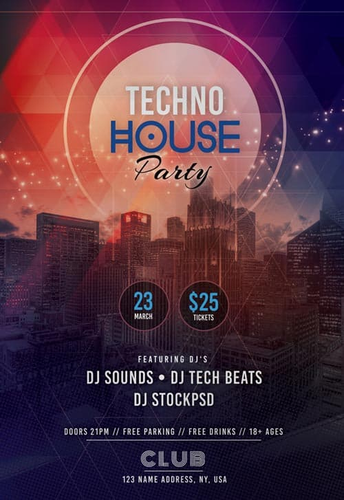 FreePSDFlyer | Free Tech House Party Flyer Template for Photoshop