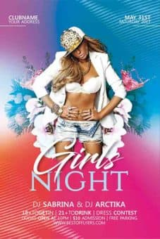 Girls Night Party Free Flyer Template