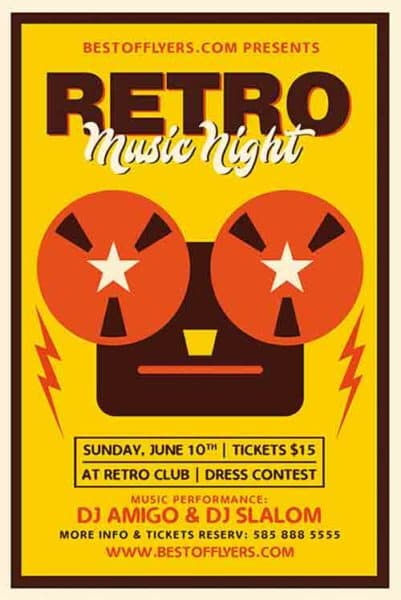 Retro Music Night Party Free Flyer Template