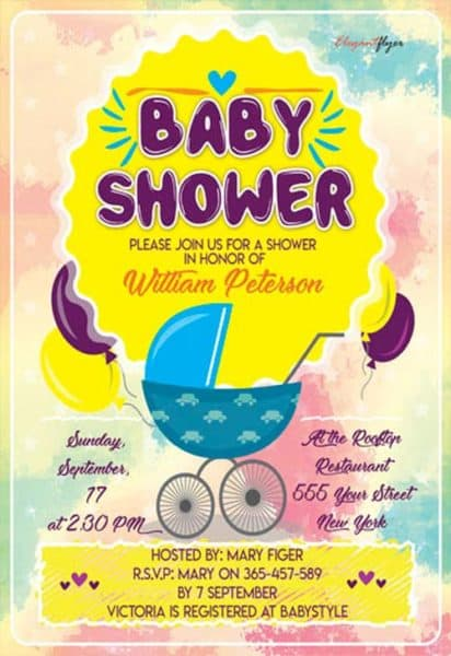 Baby Shower Party Flyer Template  Baby Shower Flyer Templates Free