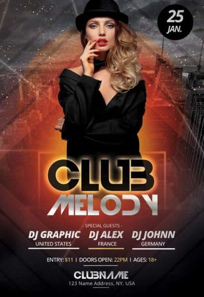 Club Melody Free Party Flyer Template