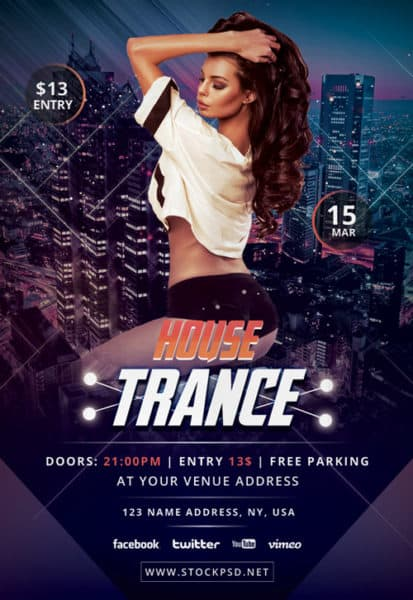 Trance House Free Party Flyer Template
