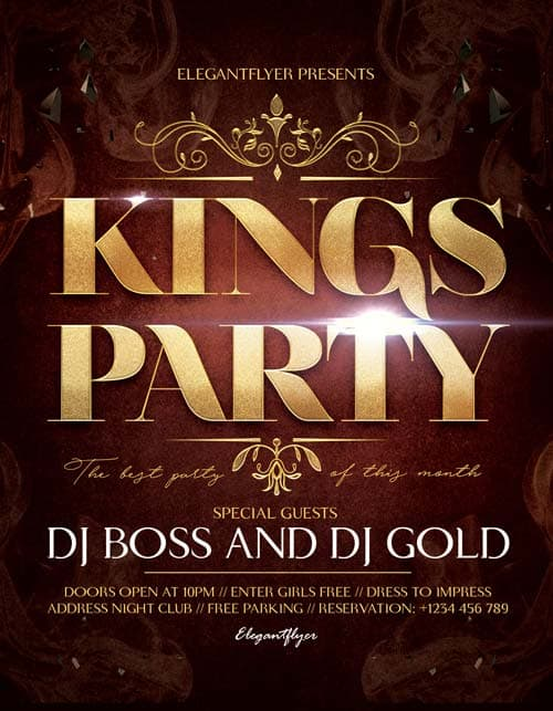 FreePSDFlyer | Kings Party Free Flyer Template - Download Free Flyer ...
