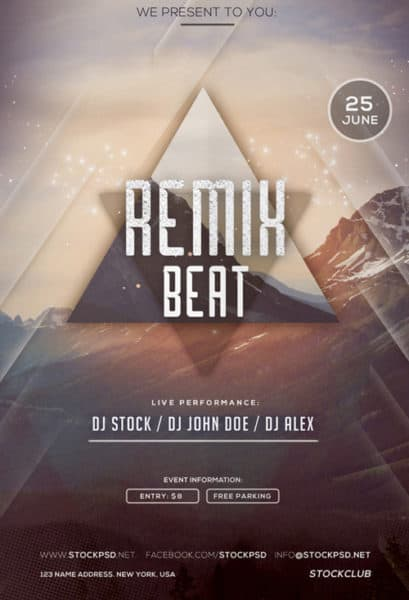 Remix Beat Party Free Flyer Template