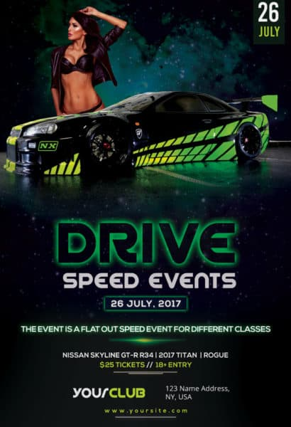 Speed Car Racing Event Free Flyer Template