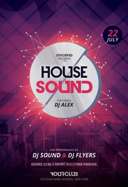 House Sound Free Party Flyer Template