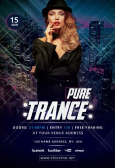 Pure Trance Free Party Flyer Template