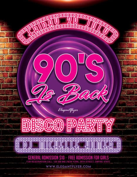 90 s party free flyer template download flyer designs for Poster template 90 x 120cm