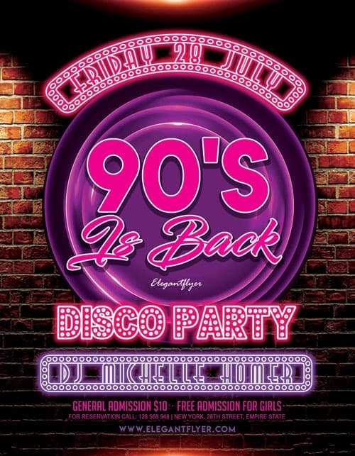 FreePSDFlyer | 90's Party Free Flyer Template - Download Flyer Designs