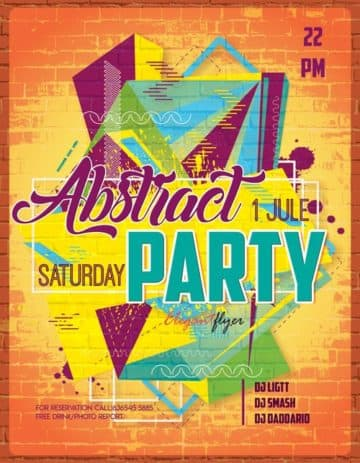 Abstract Party Free Flyer Template