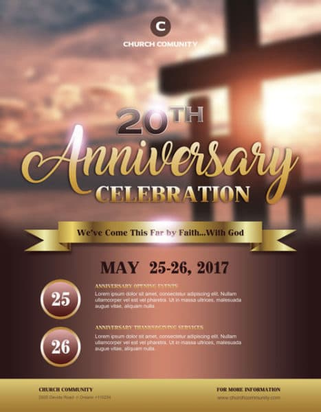 Anniversary celebration free church flyer template for Free church flyer templates photoshop