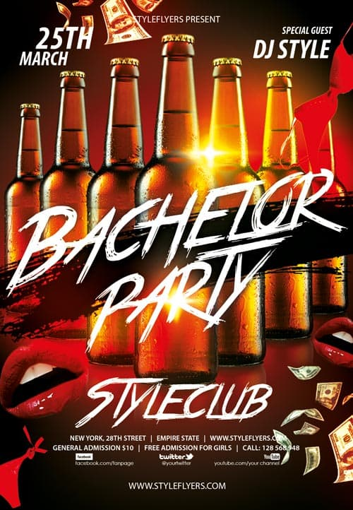 Bachelor Party Free Club Flyer Template