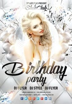 White Birthday Party Free Flyer Template