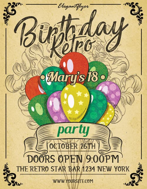 Birthday Retro Party Free Flyer Template