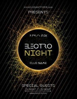 Electro Night Party Free Flyer Template