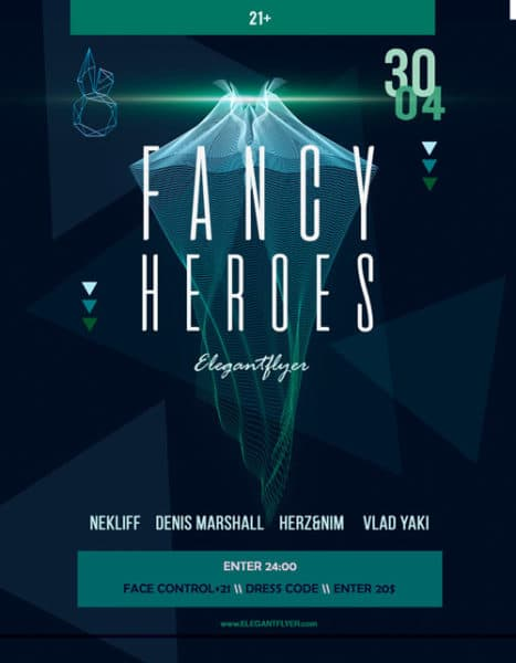 Fancy Heroes Electro Party Free Flyer Template