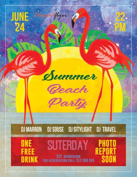 Summer Free Beach Party Flyer Template - Download Flyer Designs