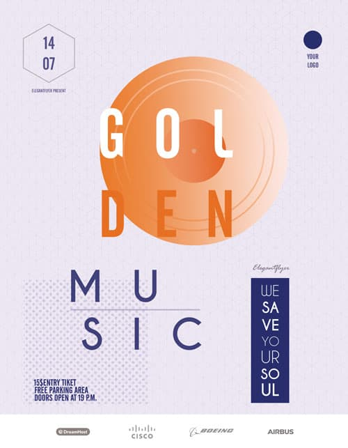 Golden Electro Music Free Flyer Template