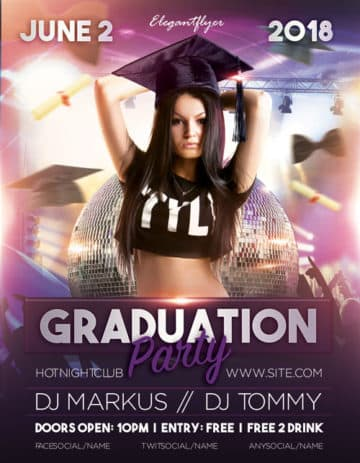 Graduation Party Free Flyer Template