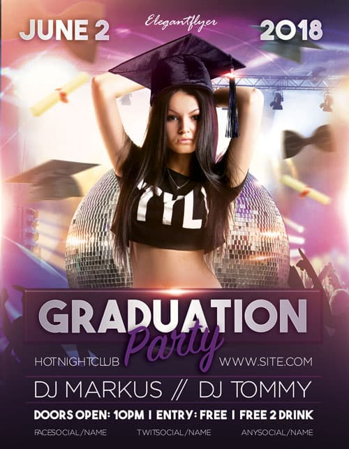 Freepsdflyer  Graduation Party Free Flyer Template  Download Flyer