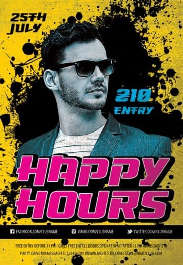Happy Hours Party Free Flyer Template
