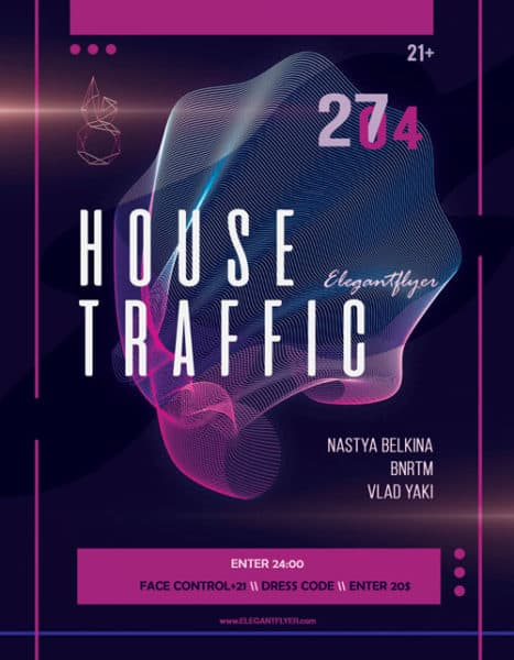 House Music Party Free Flyer Template Download Flyer Designs