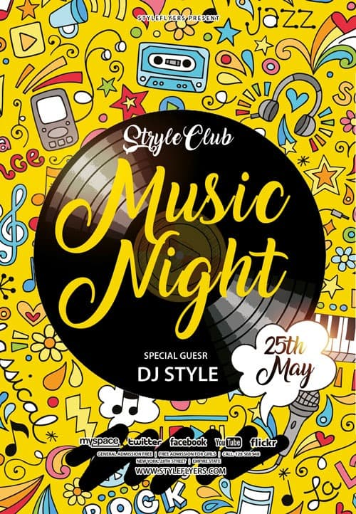 Music Night Party Free Flyer Template