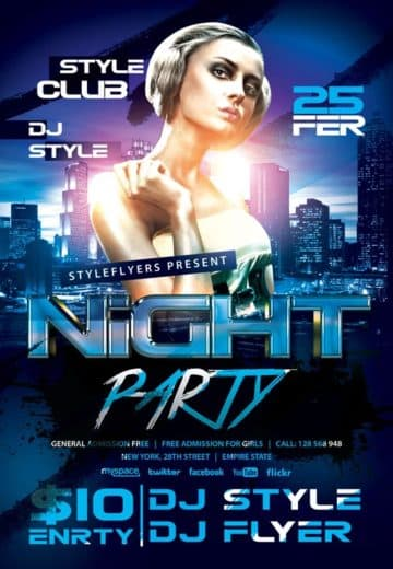 Night Party Free Flyer Template