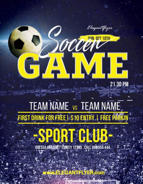 Soccer Game Sport Free Flyer Template