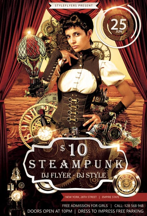 Steampunk Party Free Flyer Template