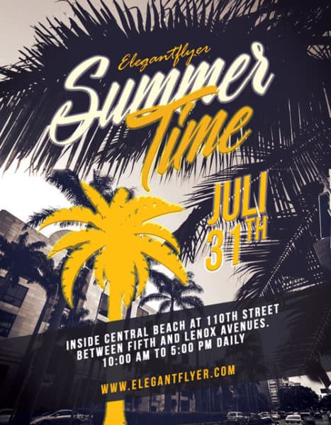 Summers Time Party Free Flyer Template