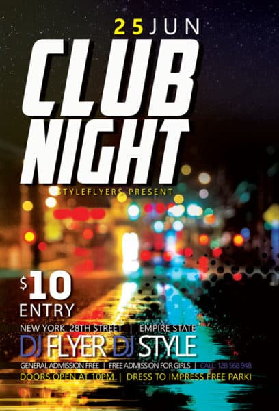 Club Night Party Free Flyer Template