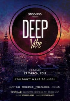 Deep Vibe Club Party Free Flyer Template