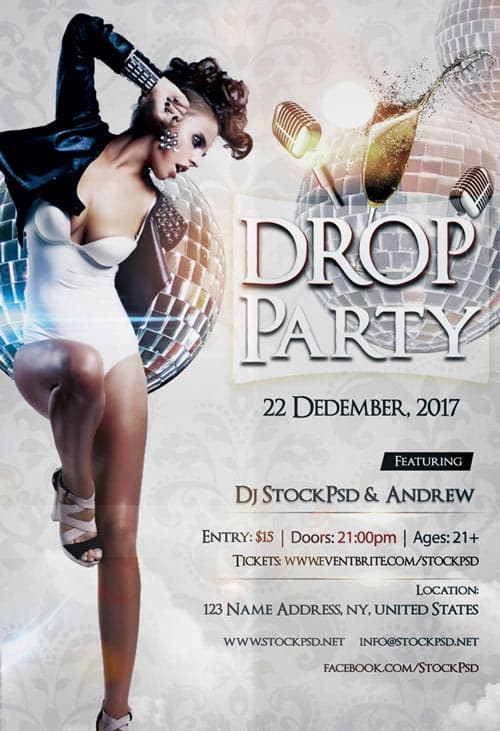 Drop Party Free Flyer Template