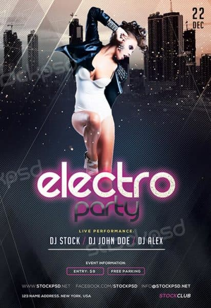 Electro Party Club Free Flyer Template
