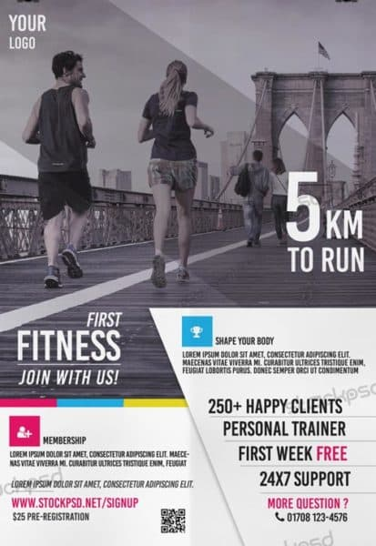 First Fitness Marathon Free Flyer Template