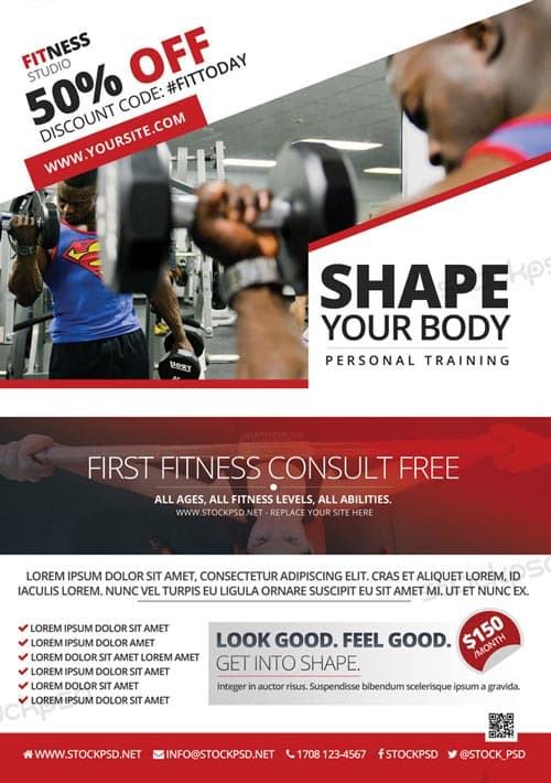 fitness brochure templates - freepsdflyer fitness and gym offer free flyer template