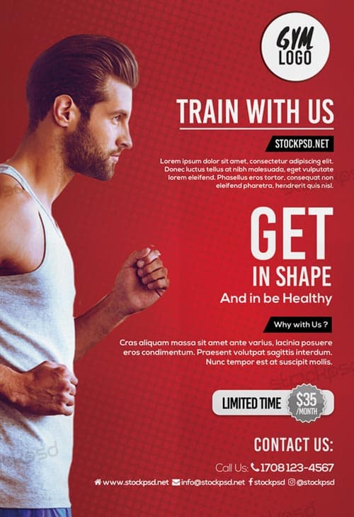 Download the best free poster templates for photoshop running fitness gym free flyer template pronofoot35fo Images