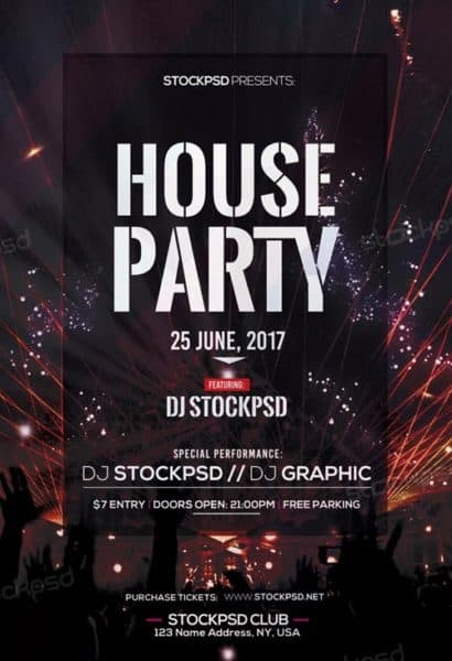 House Party Free Flyer Template