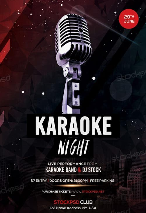 Freepsdflyer  Free Karaoke Night Flyer Template  Download Flyer