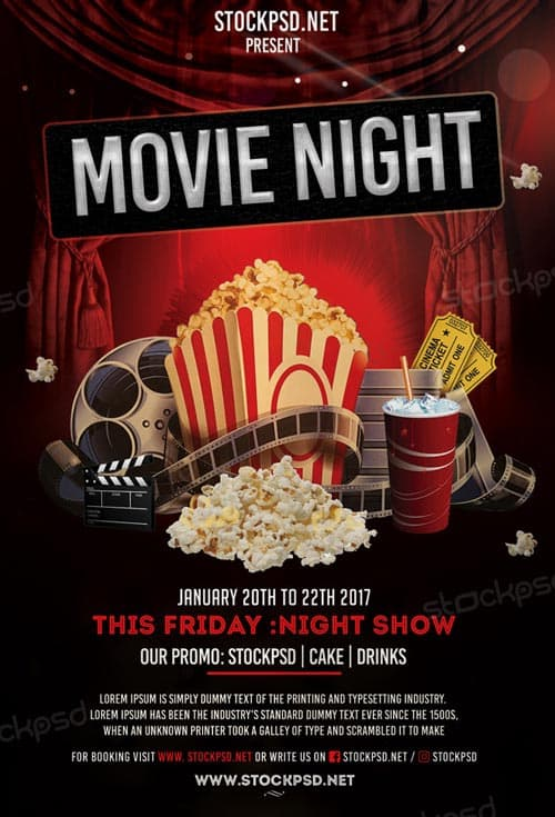 Freepsdflyer  Movie Night Free Flyer Template  Download Flyer