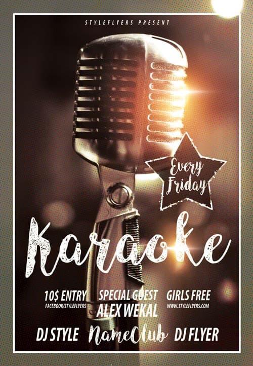 retro karaoke free flyer template