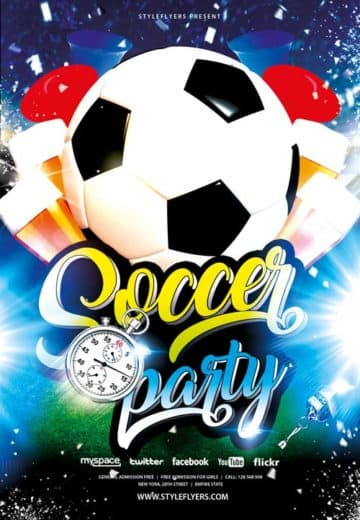 Soccer Party Free Flyer Template