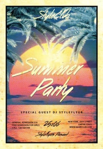 Retro Summer Party Free Flyer Template