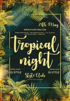 Tropical Night Party Free Flyer Template