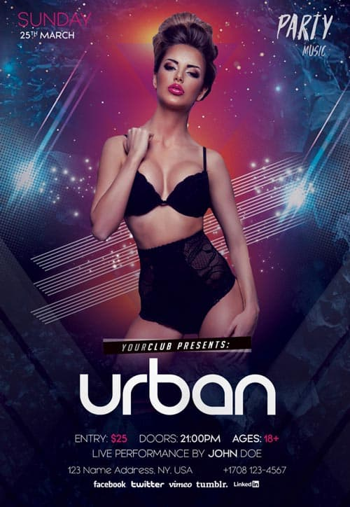 Urban Free Party PSD Flyer Template