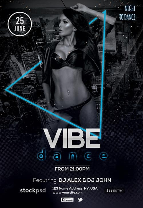 Dance Vibes Free Party Flyer Template